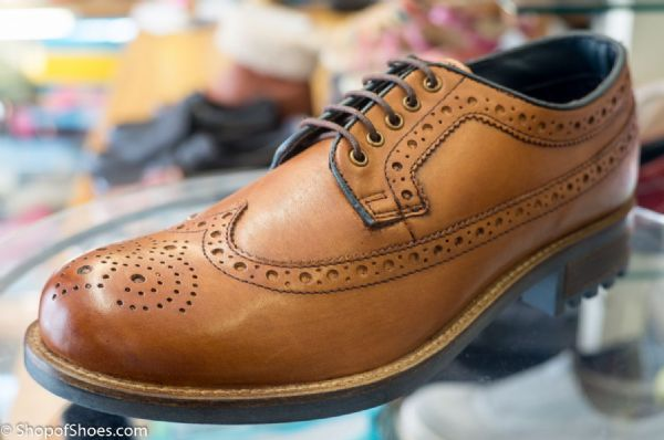 Leather deep grip rubber soled Brogue in tan with comfort footbed.